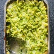Glutenvrije Visovenschotel met Doperwtenpuree