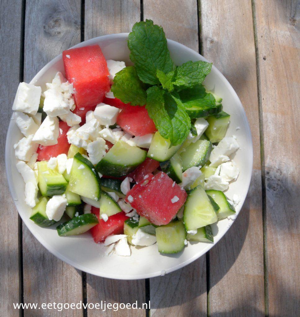 Watermeloen Komkommer salade
