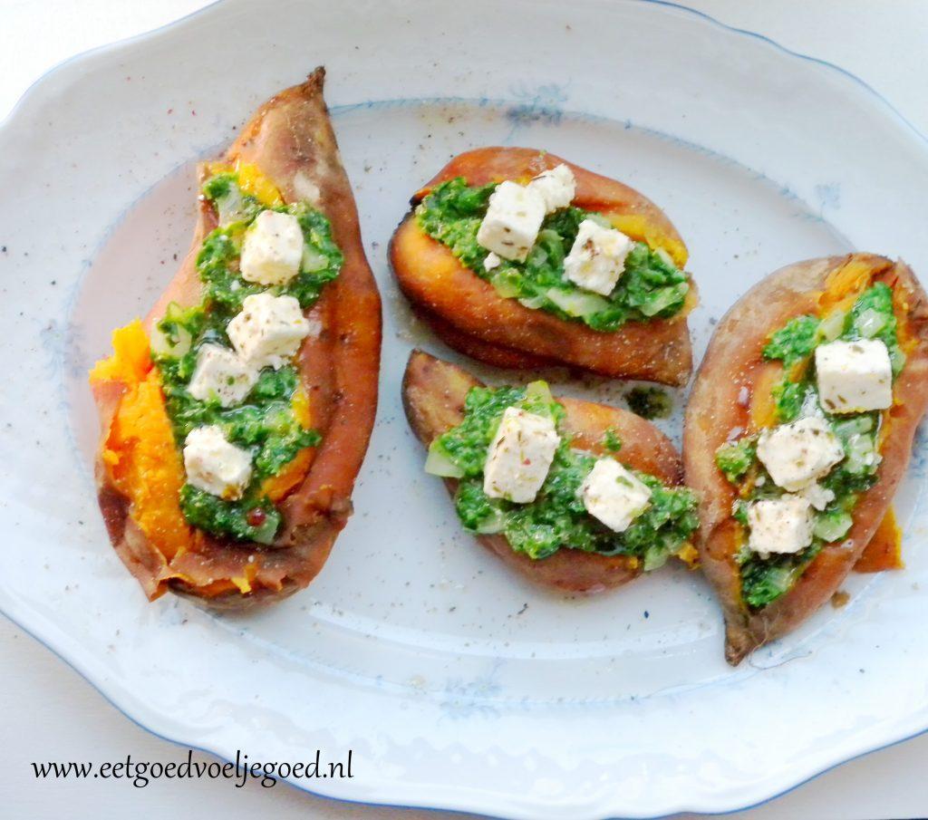 Zoete aardappel met Spinazie, Geitenkaas en Knoflook