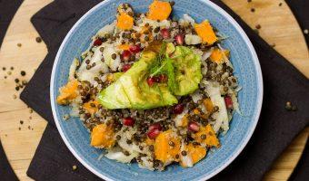 Linzen, Pompoen en Avocado salade en een mooi Serviesset