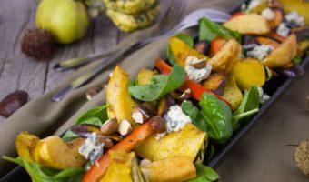 geroosterde pompoen, appel en blauwschimmelkaas