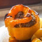 Gevulde Paprika's met rundergehakt, cashewnoten en mosterd
