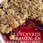 Nazomeren: Glutenvrije Bramen- en Appelkruimel met Speculaaskruiden